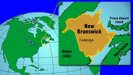 Location of Fredericton New Brunswick